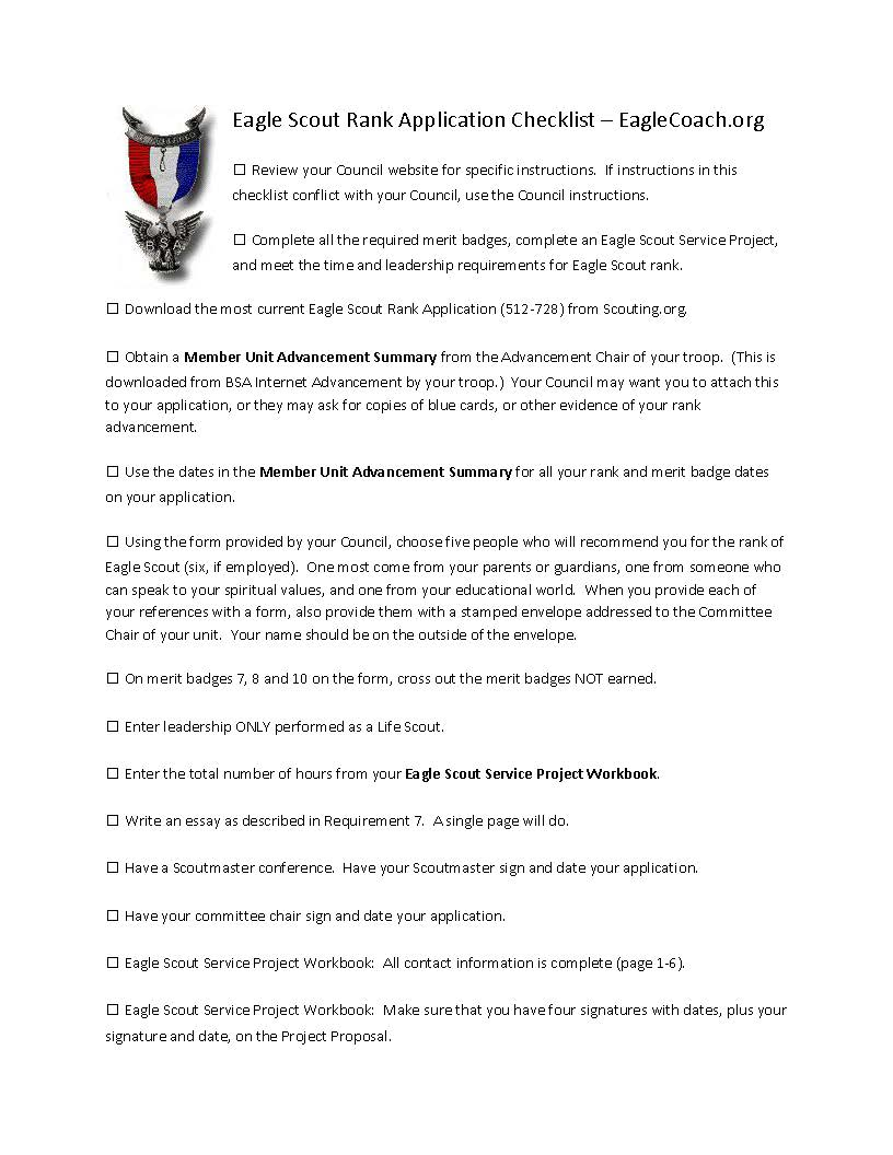revised eagle application checklist orgorg eagle scout rank application checklist