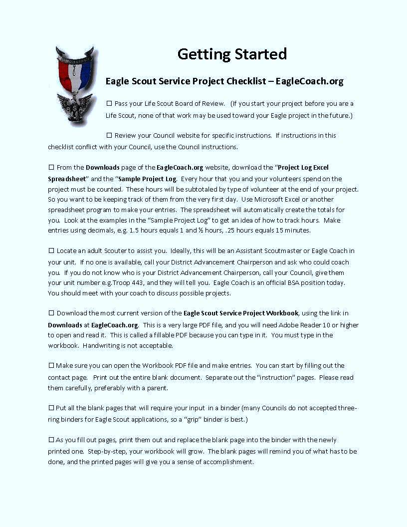 eagle scout service project checklist